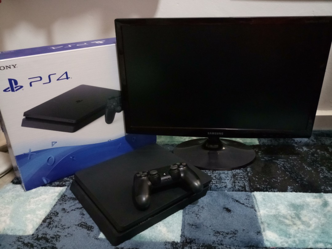 Ps4 Slim Samsung Monitor 1 Year Ps Plus Video Gaming 500gb Cuh 2006a Jet Black Extra Controller Ds4 New Model Game Consoles On Carousell