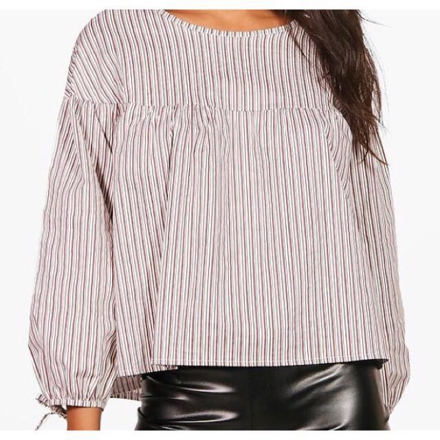 Stripe woven puff sleeve top