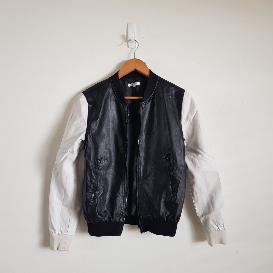 Valleygirl Faux Leather Bomber Jacket