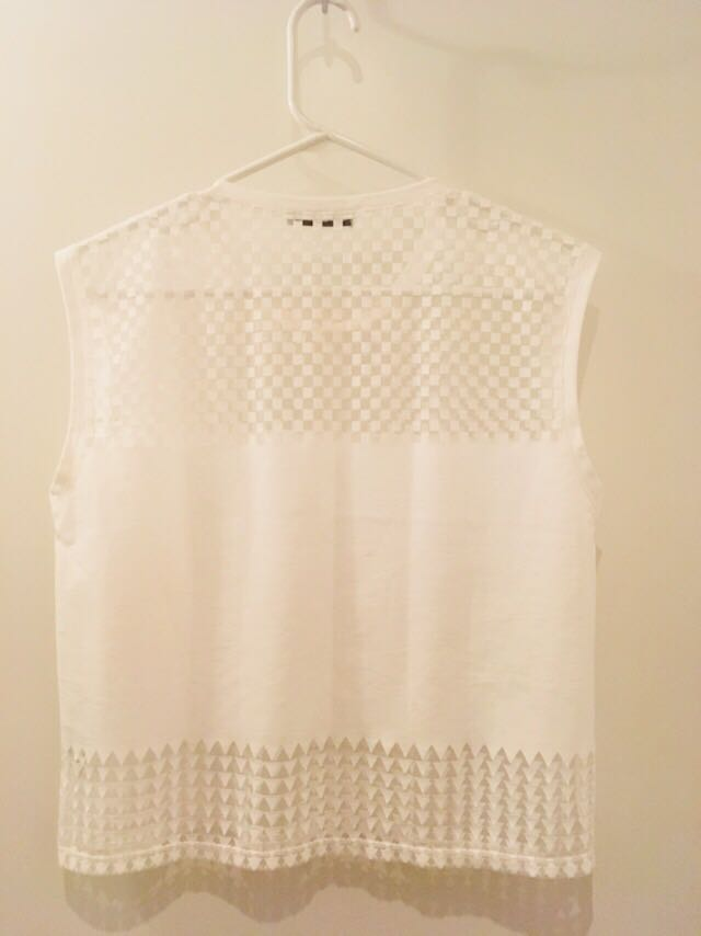 Zara white crop top sheer