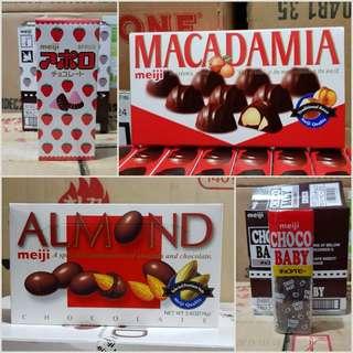 Meiji (Choco Baby, Apollo,Almond & Macadamia)