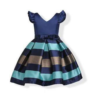 Graceful Horizontal Stripes Sleeveless Princess Dress