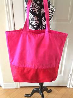 Victoria's Secret Pink and Red Canvas Beach Tote Weekender Bag
