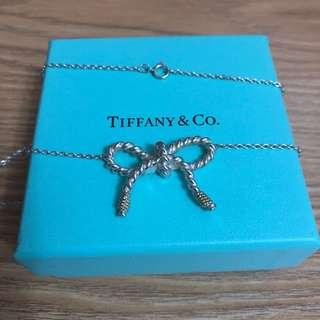 保證真品 蒂芬妮 Tiffany 純銀 K金 蝴蝶結 大尺吋 項鍊 項鏈 立體 二手 九成新 蒂芙妮 絕版品 女孩兒最愛