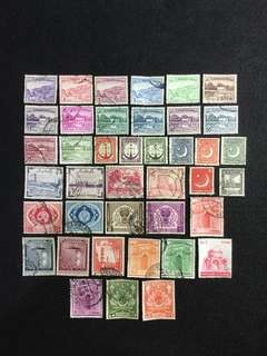 Pakistan 40 Different Used Stamps