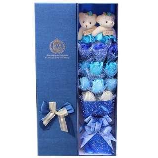 Teddy Bear Flower Bouquet In Gift Box (2 Teddy Bear & 11 Blue Soap Roses, 4 tone colour)