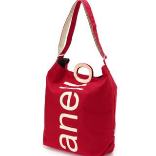 AU-S0061 [Anello] Red O-Handle 2Way Tote bag   100% GENUINE  !