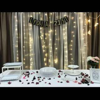 Backdrop rental with sheer curtains