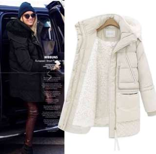 (S~3XL) Winter thick down jacket women's long section off code winter loose lambskin