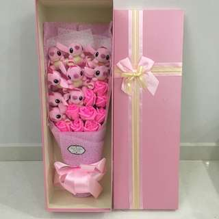 Pink Stitch Flower Bouquet In Gift Box (9 Pink Stitch & 9 Pink Soap Roses)