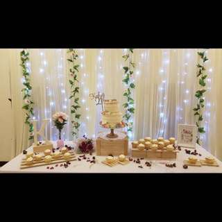 Backdrop Rental + Flower Vines and Dessert table (Wooden Theme)