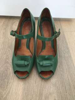 Chia Mihara green peep toe pumps 7.5