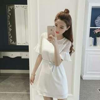 全新香港帶回雪紡白色洋裝附腰帶(特價免運)