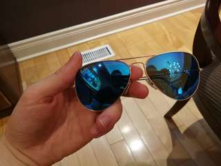 Rb 3025 blue flash lens aviators sunglasses