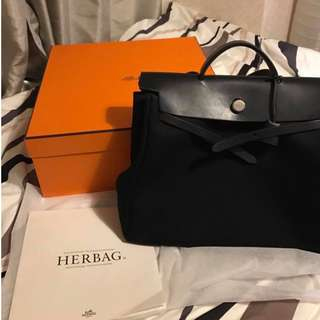 Hermes 40cm Herbag Black  黑色 100% Real 70% New