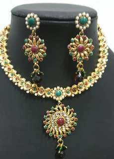 Red Green Color Stones Traditional Indian Jewellery Set
