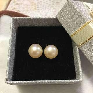 天然淡水珍珠s925純銀耳環