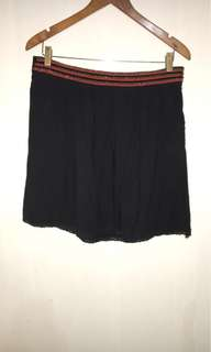 A-Line Black Skirt with Red Sequins