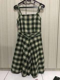 FashionLab Green Checked Dress