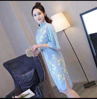 Ladies  silk wedding qipao. Mandarin Collar Qipao Size S-XXL