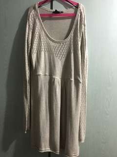 H&M Beige Knitted Maternity Long Sleeve Dress