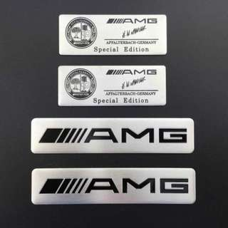 4x Aluminum Emblem Car Badge Stickers Fit For Mercedes Benz AMG 4MATIC GLK SL C