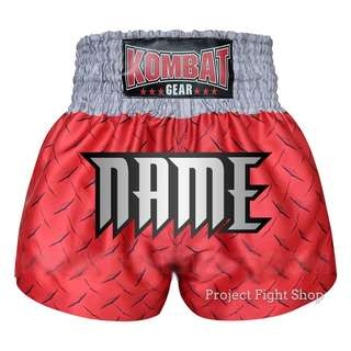 Customize Kombat Gear Muay Thai Boxing MMA Shorts Red Steel
