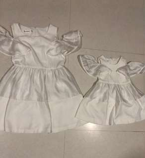 Mother and daughter white dress