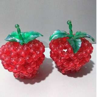 Handmade Red Beads Apple Display (In a pair)