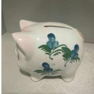 Vintage Porcelain Pig Coin Piggy Bank