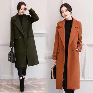 (M~2XL) 2018 Korean women's woolen jacket was thin Slim long sleeve wool coat