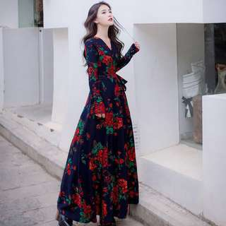 Free Shipping Promotion-15-25 Days Time Shipping for Korean Style Women Dress V-Neck Long Sleeve Floral Printed Maxi