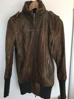 Mackage grey/brown leather jacket sz M