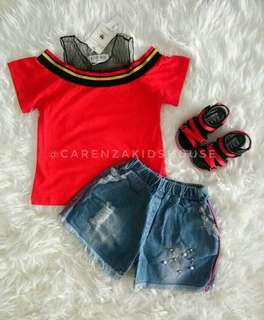 Setelan Baju Anak Merah Jeans Impor