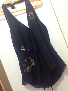 BCBG silk chiffon ruffle sequinned top
