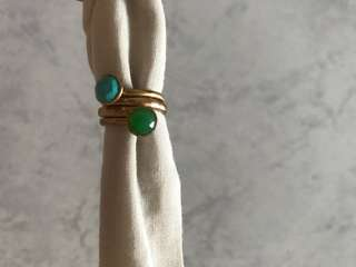 Gold Plated women's ring with turquoise and emerald stones