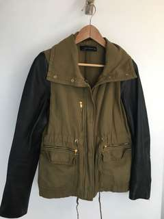 Zara Leather Sleeve Army Jacket M