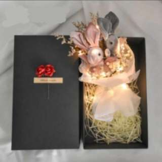 D1 -  Couple Rabbit or Bunny Dried Flowers Bouquet In Gift Box with Fairy LED Lights