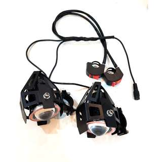U7 Angle Light Dual T6 LED White Blub (4 color lights to choose) 3000 Lumens (1 Pair Wired Plug to Play) for Escooters / Ebike