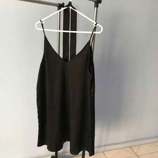 Black satin choker dress