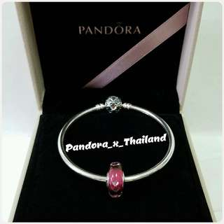 PANDORA 粉紅立體心心琉璃珠 - 保證真品*購自HK專櫃