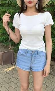 Instock White Frill Tshirt