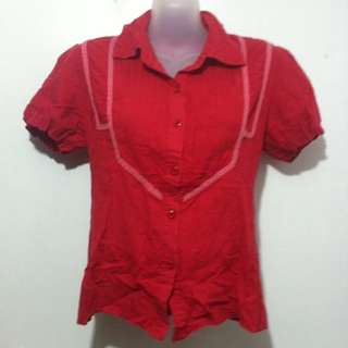Red Polo Blouse