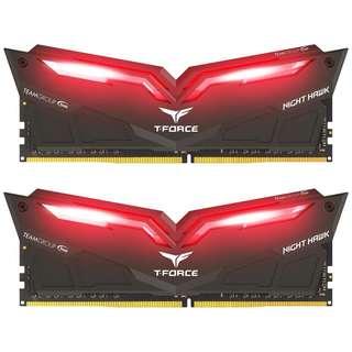 32GB(2x16GB)DDR4 3000 Team Night Hawk Red Led RAM