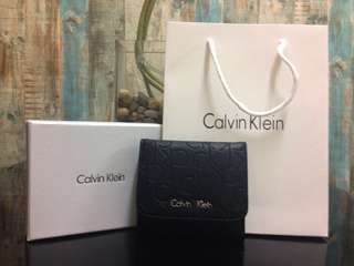 CALVIN KLEIN Embossed Words Women Short Wallet