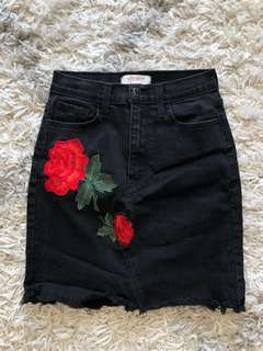 Black Mini Skirt with Rose Details