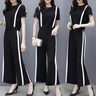 (S~2XL) Fashion suit Korean temperament chiffon high waist wide leg pants two sets