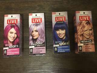 Schwarzkopf LIVE Hair Colours $12 each box