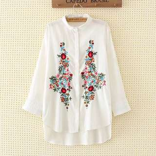 (L~3XL) 2018 Summer Ethnic Embroidered Shirt Fashion Shirt