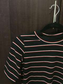 Red and Black Stripes 3/4 Top